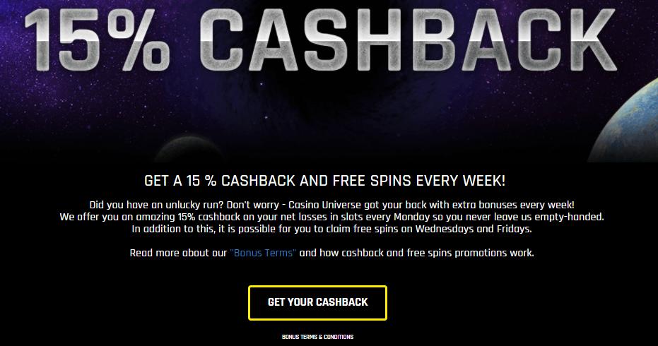 Casino Universe Welcome Bonus Cashback