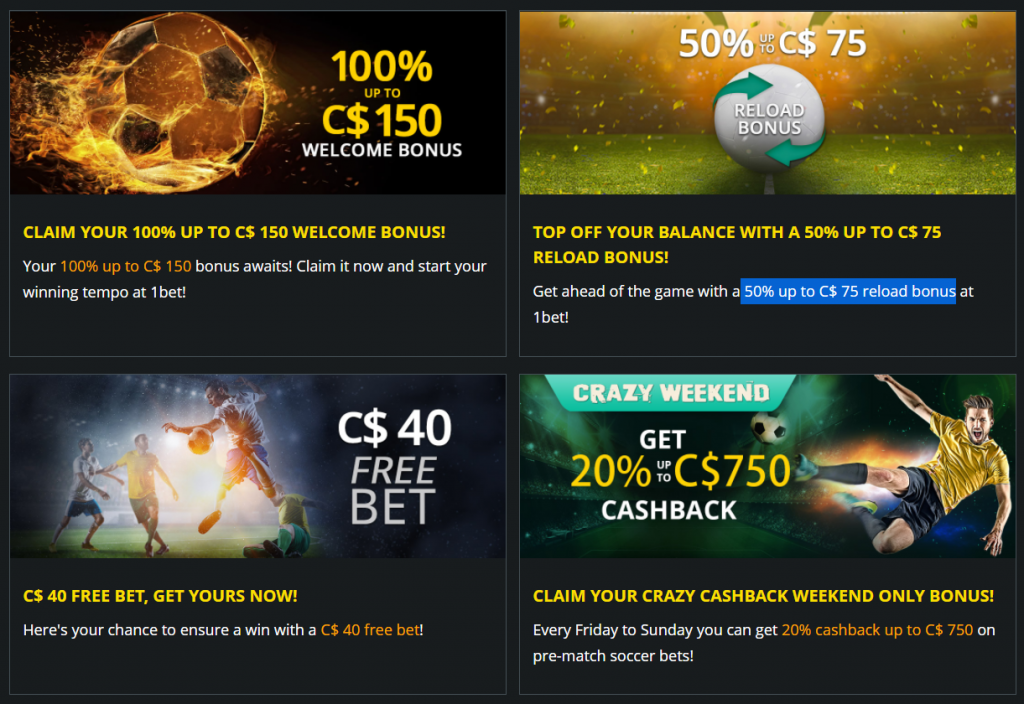 Sports Promotions at 1Bet Casino