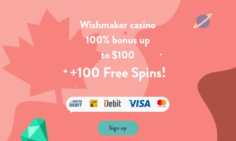 Wishmaker Casino 100% welcome bonus
