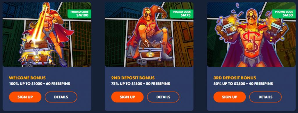Slotman Casino Welcome Deposit Bonuses