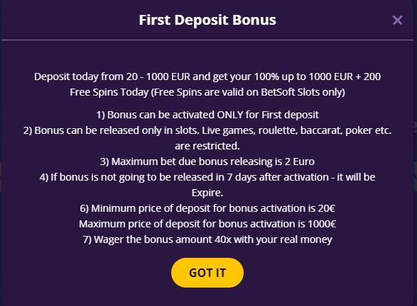 Fortusino Casino Welcome Bonus